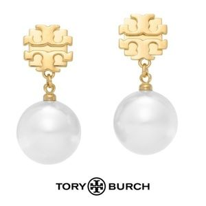 NWT Tory Burch Evie White Pearl Drop Earrings